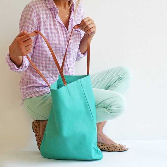 Turquoise Leather Tote