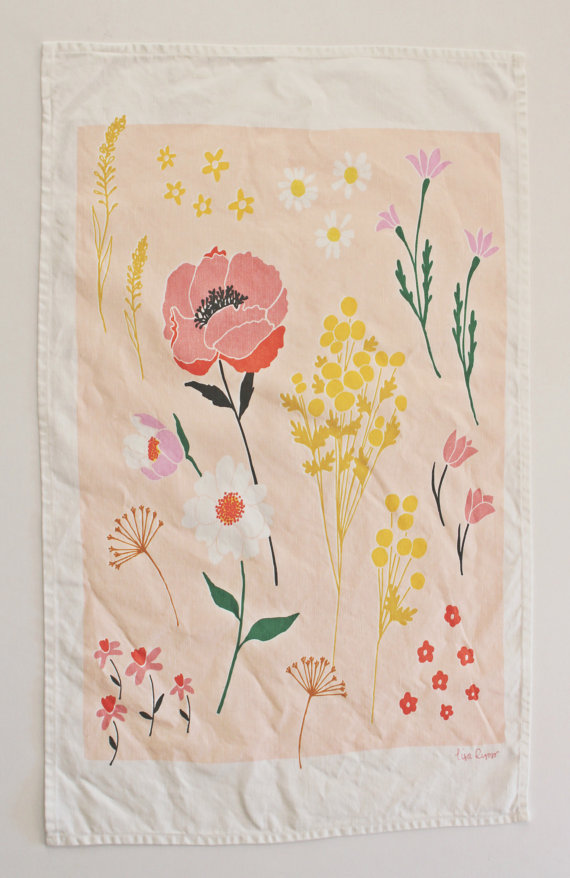 Pink Floral Dish Towel