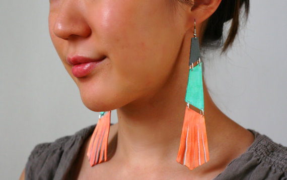 Colorblock Leather Earrings